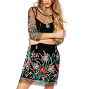Women Floral Embroidery Lace Mesh Dress  Braces Mini Dresses