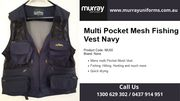 Buy Multi Pocket Mesh Fishing Vest Navy Online